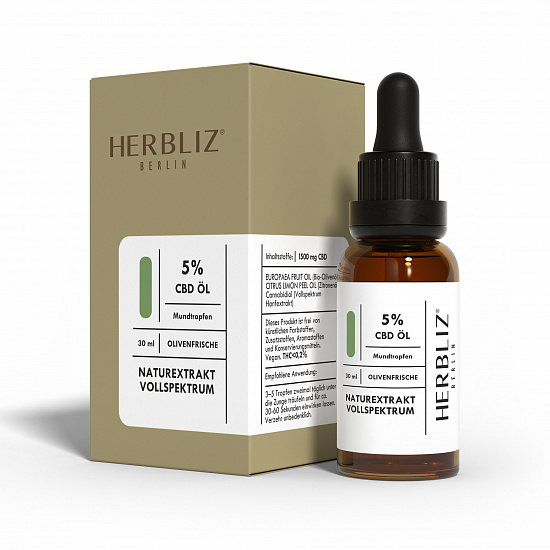 HERBLIZ Olive Fresh CBD Oil 5% | HERBLIZ - Photo 2