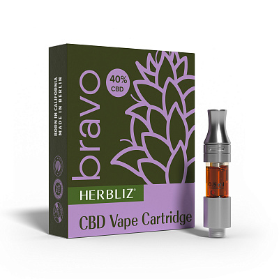HERBLIZ Bravo CBD Oil Vape Cartridge 40%