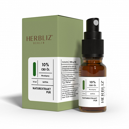 HERBLIZ Sativa CBD Mundspray 10% - 10ml | New Garden Lab - Foto 2