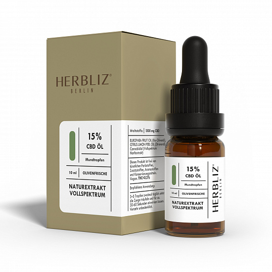 HERBLIZ Olive Fresh CBD Oil 15% | HERBLIZ - Photo 2